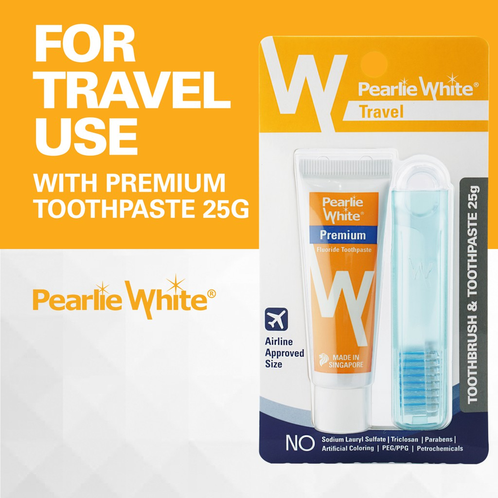 [Bundle of 2] Pearlie White Travel Toothbrush WITH Premium Toothpaste 25gm
