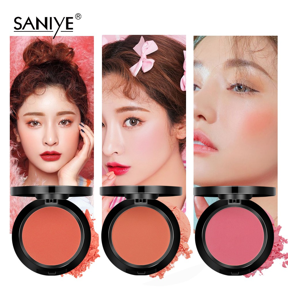 SANIYE10 Colors 3D Face Blusher Powder Palette With Mirror Mineral Blush E0119