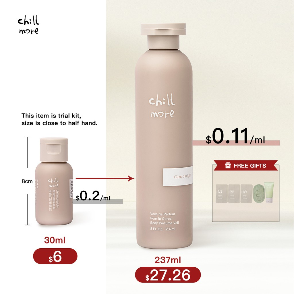 Chillmore Whitening Perfume Squalane Body Lotion Shower Gel Anti-Acne Amino Acids For Dry Dark Sensitive Itchy Skin Moisturizing Travel Trial Kit 110ml90ml 20ml Woman Beauty Personal Care