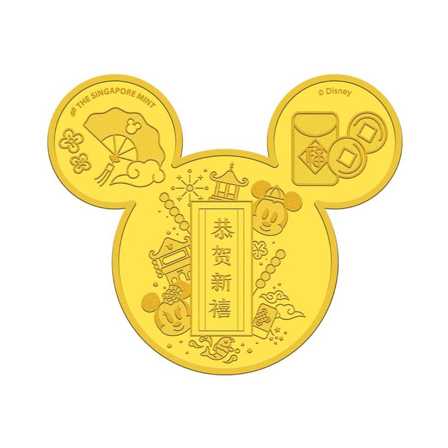 Disney Wealth Mickey-Shaped 24K Gold-Plated Medallion Festive Pack