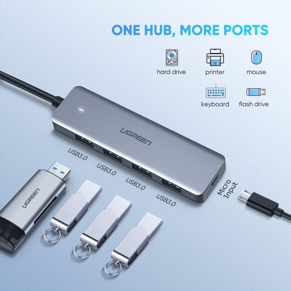UGREEN 70336 USB C Hub 4 Ports Type C to USB 3.0 Adapter with Micro USB PD for MacBook notebook