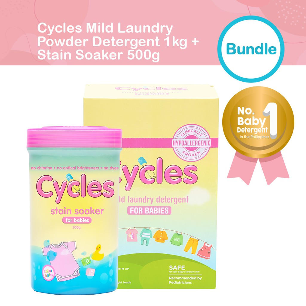 Cycles Baby Stain Soaker 500g + Cycles Mild Baby Laundry Powder Detergent 1kg