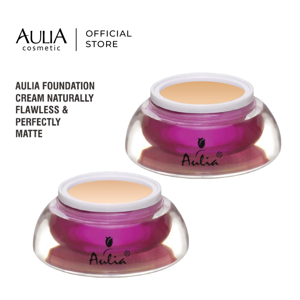 Aulia Foundation Cream 20gr Lightweight Formulation, Skin Perfecting & Oil Absorbing With UV Protection