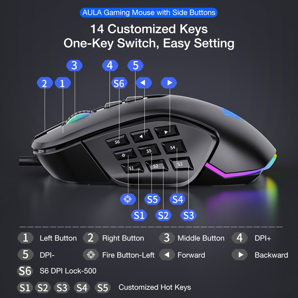Mouse Gaming Slide Button AULA H-510 Magnetic - RGB 2 Sets Accessories - Macro System - 14 Buttons