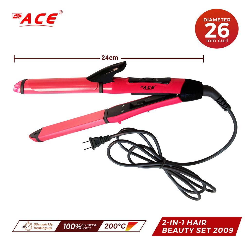 ACE 2-in-1 Hair Straightener And Curler Iron pink 2009