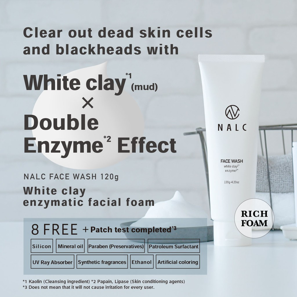 NALC Facewash White Clay/Enzyme Facial Foam/Cleanser/Face wash/Effective For Acne