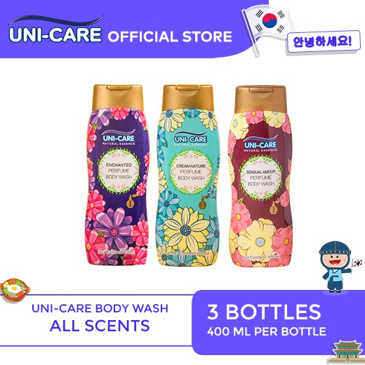 Uni-Care Perfume Body Wash 400ml Collection Bottle of 3