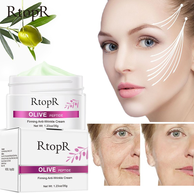 RtopR Olive Peptide Firming Anti-Wrinkle Cream Reduce Face Fine Lines Tighten Pores Whitening Oil Control Acne hydrating skin Product 30g