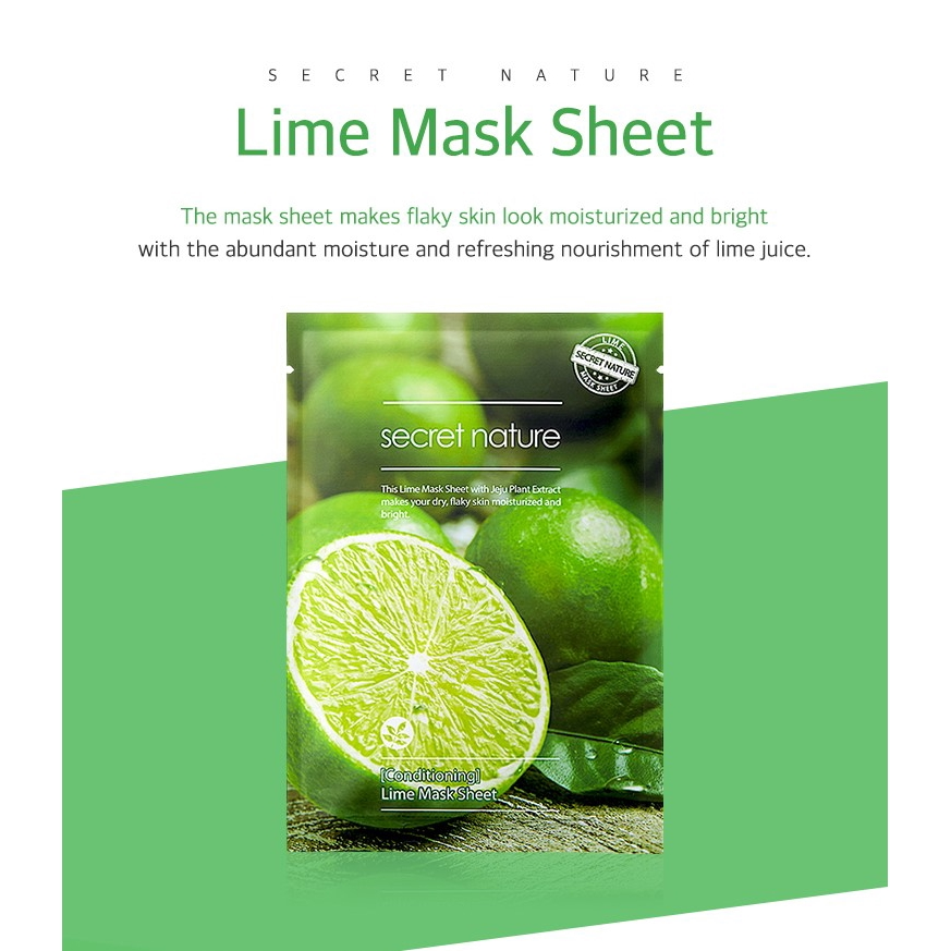 Secret Nature Conditioning Lime Korean Real Squeeze Face Mask 10 Pcs
